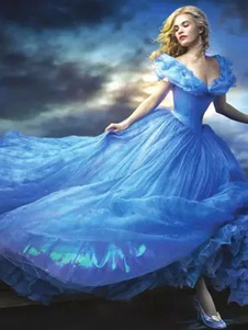 Costume Carnevale Carnevale Cenerentola Abito Blu per Adulto Costume Cosplay da Principessa