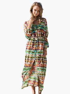Vestito lungo di poliestere con scollo tondo maniche corte stampa floreale  drappeggiato · -40% bf95eeef21e