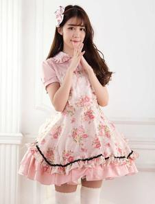 Сладкий розовый кружевной розы печати Лолита юбка джемпер