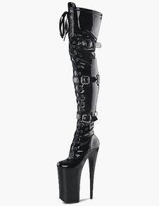 Черный PU кожа прокладки пряжки сексуальные пятки сапоги