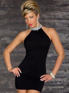 Sexy Club Dress 2020 Colletto alto con paillettes senza maniche Clubwear slim fit