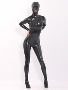 Catsuits látex pretos com capuz Halloween