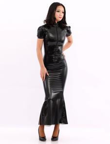 Vestido de látex preto de mangas curtas  Halloween