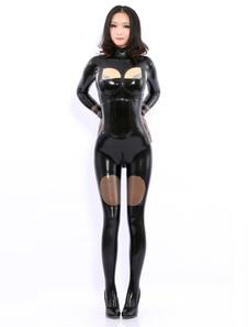 Disfraz Carnaval Catsuits del látex de manga larga negra Halloween Carnaval