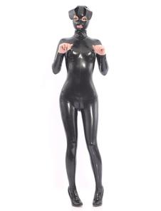 Catsuits látex pretos com capuz de cão Halloween