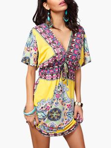 Vestido de verão das mulheres Dashiki vestidos de manga curta praia Kimono túnica vestido
