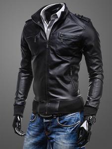 Giacca in pelle da uomo 2020  Colletto con cerniera Tasca marrone chiaro Giacca da moto 2020