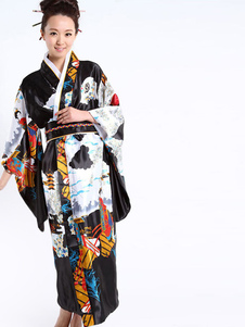 Preto trajes de quimono feminino romântico