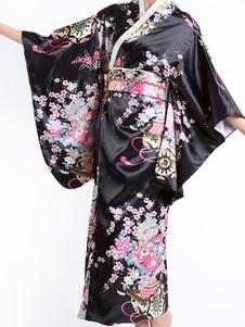 أزياء كيمونو النسائية التقليدية السوداء