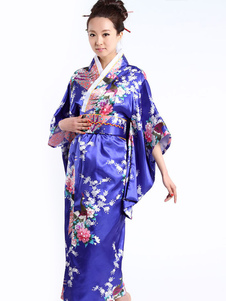 Costume Carnevale Blu Royal Peacock stampa costumi delle donne Kimono
