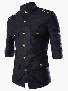 القطن الأسود 3/4 طول الأكمام أزرار طوق القميص20202020