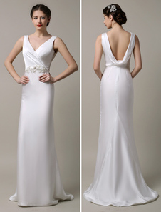 Ivory Satin Deep V-neck and Cowlback With Embellished Sash Wedding Dress