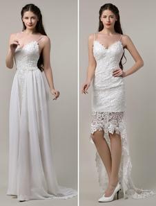 Бохо свадебное платье сексуальные кружева спагетти ремень спинки высокой низкой Богемиан