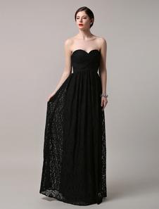Black Wedding Dress Lace Sweetheart Floor-length Evening Dress
