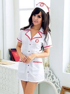 Halloween Sexy Uniforms Temptation White Synthetic Sexy Nurse Costume Halloween