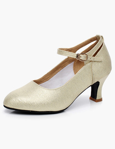 Gold Ballroom Shoes Round Toe Buckle Detail Glitter Latin Dance Shoes Kitten Heel Pumps