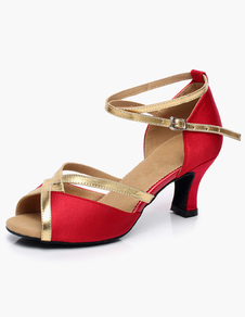 Ankle Strap Open Toe Satin Latin Shoes