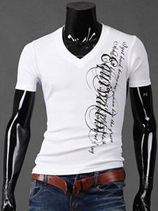 Повседневная футболка V-декольте короткий рукав для мужчин