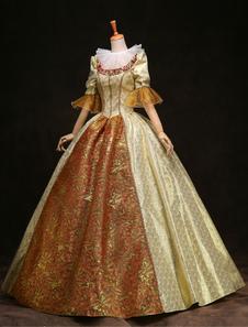 المرأة خمر زي الفيكتوري الكرة بثوب الذهب نصف كم الملكي ريترو حلي اللباس هالوين