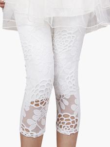 Белые кружевные леггинсы Байкерские шорты 2020 Летние леггинсы с вышивкой