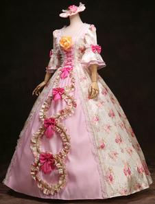 Disfraz Carnaval Bola rococó vestido volantes Floral rosa arcos Vintage princesa Costume traje Retro real femenino Halloween Carnaval