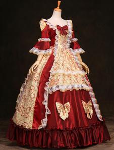 Disfraz Carnaval Vestido de Lolita rococó Rococo volantes rojo fantástico Halloween Carnaval