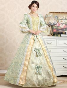 Costume Carnevale Vittoriano palla abito Jacquard floreale verde Increspature Royal Retro Costume femminile archi graduati Vintage Princess Costume