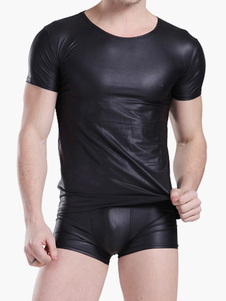 Black Men Undershirt Nylon Short Sleeve Sexy Club Wear