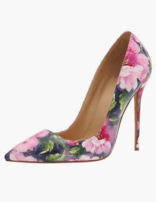Sapatos 2020 Mulheres Sapatos De Salto Alto Rosa Dedo Apontado Floral Impresso Deslizamento Em Sapatos De Vestido