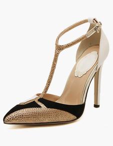 PU Leather Pointed Toe Stiletto Heel Rhinestones High Heels
