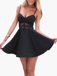 Sexy preto alças pescoço cortado linho de algodão vestido curto