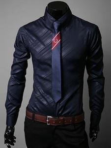 Turndown Collar mangas compridas Shaping algodão mistura Casual camisa