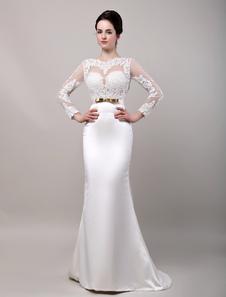 Vestido de novia de satén con escote transparente y faja