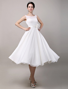 Vintage Retro Chiffon Tea Length Wedding Dress