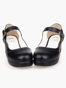 Sapatos de Matte PretoLolita Praça saltos  tornozelo correia da forma de coração