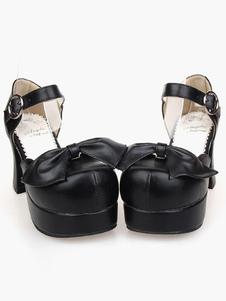 Hermosa PU cuero negro Lolita sandalias