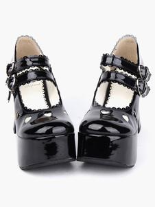 Sapatos de Lolita preto lustroso pônei saltos  plataforma  tornozelo cintas fivelas arco coração vazado