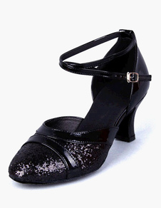Блестящие бальные туфли Черные круглые носки Criss Cross Латинские танцевальные туфли для женщин