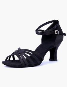 Zapatos baile latino Open Toe tobillo correa satén salón de baile zapatos