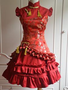 Классический красный атласные Ци Лолита платье без рукавов  сливы цветок печати оборками