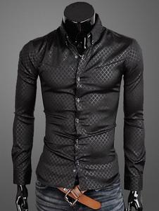 Abertura de cama gola mangas compridas algodão Casual camisa de