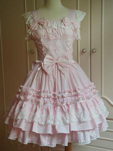 Сладкий светло розовый хлопка Лолита перемычки юбка Кружева отделкой кружево вверх оборками