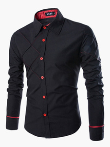 Camiseta casual de hombre 2020 manga larga bloqueo de color patrón negra