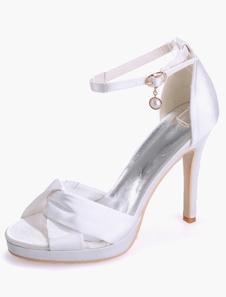 Sandali alla caviglia cinturino Open Toe in raso sera scintillante e della sposa