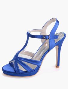 Sapatos De Casamento 2020 Branco Cetim Aberto Toe T Tipo Fivela Detalhe Sapatos De Casamento Sandálias De Salto Alto