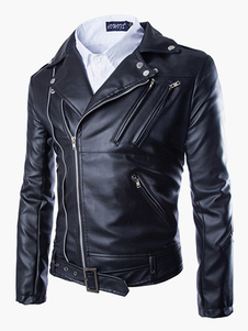 Giacca in pelle da uomo 2020  Zipper Surplice Metal Buckle  Black Jacket Moto