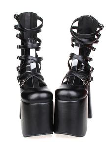 Готическая Лолита черный коренастый каблуках сандалии высокой Plarform лодыжки ремни, пряжки