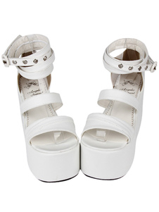 Fashion PU Leather White Lolita Sandals