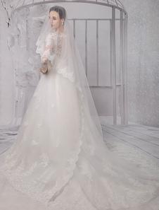 واحد الطبقة كاتدرائية الزفاف الحجاب مع الدانتيل حافة