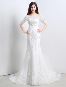 Lace Beading Off The Shoulder Mermaid Wedding Gown With Half Sleeves